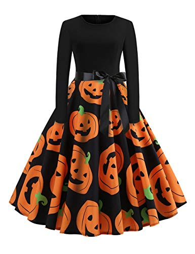 CINDYLOVER Chaleco de Halloween Gato y Vestido de Calabaza Halloween Fiesta Gato y Calabaza Vestido Fantasma Bruja Moda Halloween Vestir Mezcla de colores1 XL