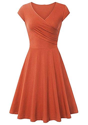 EFOFEI Vestido de Manga Corta con Columpio para Mujer Vestido Elegante de Verano Naranja 3XL
