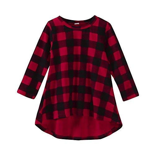K-youth 2018 Baratas Vestido Bebe Niña Ropa Bebe Niña Invierno Enrejado Manga Larga Vestido para Niñas Vestido de Fiesta Bebé Niñas(Rojo, 2-3 años)