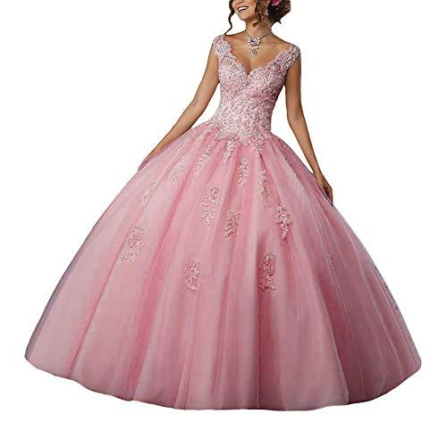 JAEDEN Vestido de Fiesta Largo Vestido de Novia Vestidos de quinceañera Encaje Tul V-Cuello Rosa EUR36