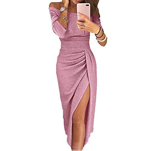 OrientalPort Elegante vestido sin hombros para mujer, con lentejuelas, vestido de cóctel, vestido de fiesta, sexy, vestido de noche Rosa. M-36/38/40