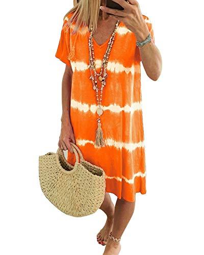 ZANZEA Vestidos Mujer Verano Corto Tie Dye Tallas Grandes Vestidos Playa Cuello Redondo Mangas Cortas Vestido Casual 017-naranja S