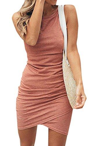 Ajpguot Vestido de Verano Mujer Irregular Mini Vestidos de Fiesta Elegante Vestido de Cadera Cuello Redondo Manga Corta Corto Vestido de Bodycon (S, 100008 Rosa Coral)