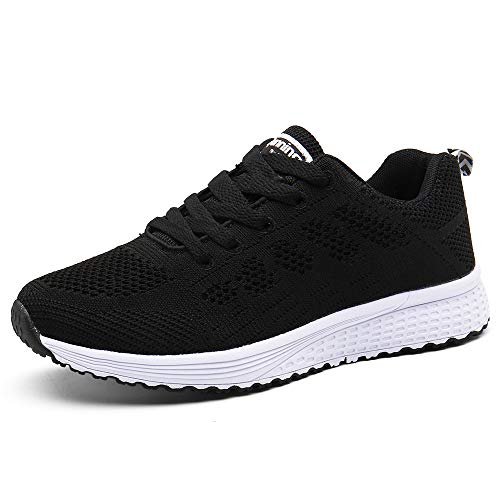 Zapatillas de Deportivos de Running para Mujer Gimnasia Ligero Sneakers Negro 37