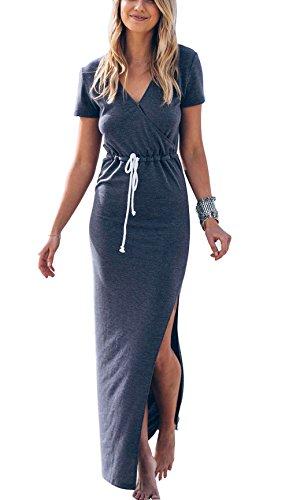 Vestido Largo Casual Mujer Verano Chicas Jóvenes Azul XL