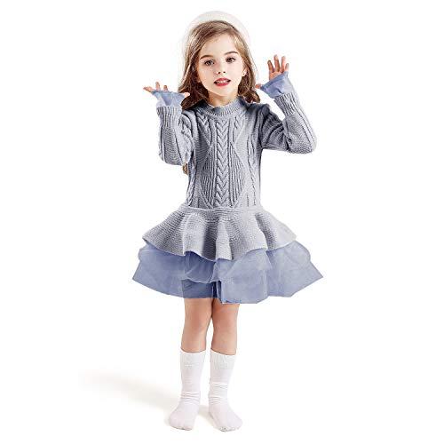 TTYAOVO Suéter para Niñas Vestido de Princesa de Punto de Manga Larga Tutú de Invierno Vestir 5-6 años(Talla130) 668 Gris