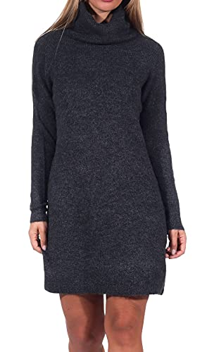 Only Onljana L/s Cowlneck Dress Wool Knt Vestido, Gris (Dark Grey Melange Dark Grey Melange), 40 (Talla del Fabricante: Medium) para Mujer