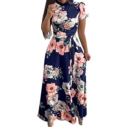 Fcostumer Vestido retro rockabilly para mujer, corto, estrecho, de noche, de cóctel, de baile, de cóctel, con enaguas, estilo vintage #01_azul L