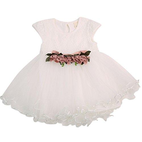 WangsCanis Vestido de bautizo para niña, con tul y encaje, elegante, de manga corta, vestido de princesa, para fiestas, ceremonias, cumpleaños, 0 – 3 años Bianco 6-12 Meses