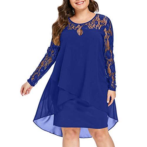 Vectry Vestidos Elegantes Mujer Vestidos Mujer Vestidos Largo De Elegante Vestidos Casual De Mujer Primavera Vestidos Fiesta Coctel Vestidos Playa Mujer (-Azul, XL)