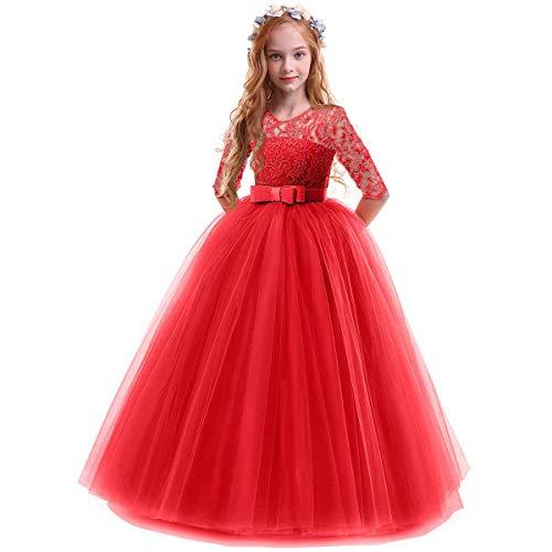 OBEEII Vestidos De Princesa Fiesta de la Boda de Las Niñas para Bordado Graduación Comunión Cumpleaños Paseo Baile Cóctel Vestido de Novia Rojo 2-3 Años
