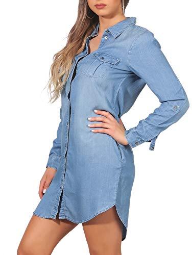 Vero Moda Vmsilla LS Short Dress Lt Bl Noos Ga Vestido, Azul (Light Blue Denim Light Blue Denim), 42 (Talla del Fabricante: Large) para Mujer