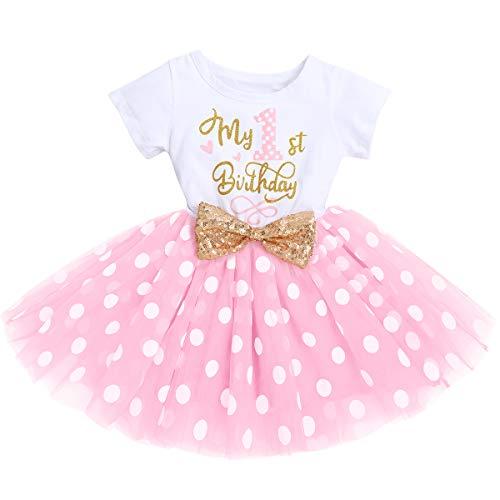 FYMNSI Vestido de manga corta para bebé, niña, de algodón, tutú de tul, línea A, vestido de princesa, vestido de fiesta para sesión de fotos. Rosa Mi primer cumpleaños (vestido solo) 12 meses