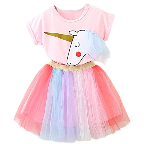 TTYAOVO Vestido Unicornio para Niñas con Tops Estampados de Unicornio y Faldas de Tutú de Arco Iris, Trajes de Tul de Algodón de Tul para Niños de 2-3 años(Talla100) 408 Rosa