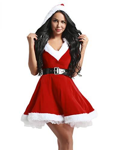 iiniim Disfraz de Navidad Mujer Vestido de Fiesta con Capucha Cosplay Falda Plisada Manga Media de Terciopelo Mamá Noel con Cinturón Rojoa M