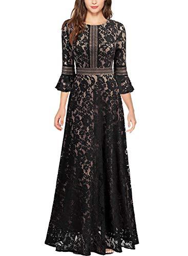 Miusol Vintage Encaje Slim Cóctel Vestido Largo para Mujer Negro Large