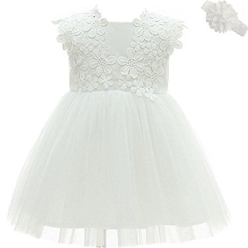 Vestido de fiesta para niña, para cumpleaños, bodas, bautizos Blanco blanco 3 Meses/3-6 Meses