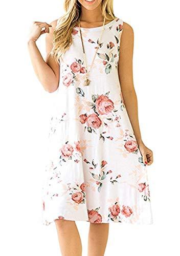 OMZIN Vestido de túnica de algodón con Cuello Redondo por Encima de la Rodilla de para Mujer Vestido Suelto con Vuelo Flojo Blanco XXL