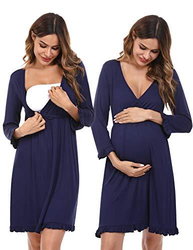Doaraha Camisón Lactancia Algodón Mujer Ropa de Dormir Premamá Hospital Vestido de Maternidad Embarazo Pijama Embarazadas Camisones Embarazada Manga Corta 3/4 Suave (Azul, XL)