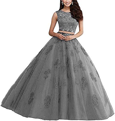 XUYUDITA Vestido de Bola de Encaje Largo de Dos Piezas Rhinestones Quinceanera Vestidos de Fiesta Vestidos de Fiesta Gris-46 Plus