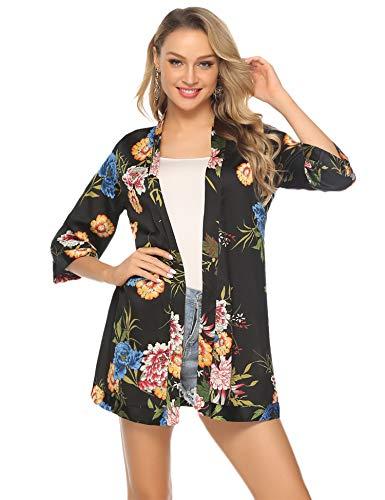Abollria Cárdigan Kimono Mujer Bata Corto Sexy Vestido Pijama para Satén Ropa de Dormir Batas Seda de Hielo Bata Camisón Florales Chaqueta Verano