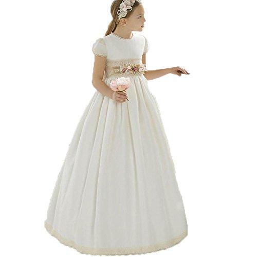 Auxico Bonita Vestidos de Las Muchachas de Flor Vestido de Primera comunión Vestidos de Fiesta (Marfil 1, 10 años)