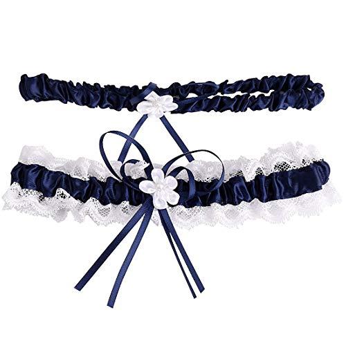 2PCS Liga de Encaje Boda, Liguero de Encaje y Lazo con Diseño, Accesorios de los Vestidos de Boda, Vestido de Decoración para Novias y Damas de Honor Royal azul