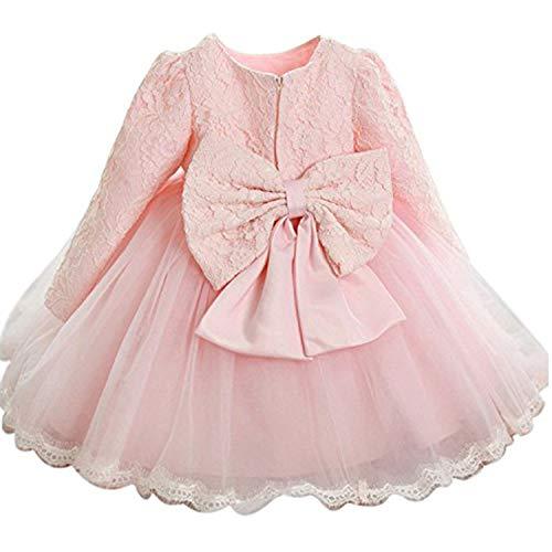 TTYAOVO Vestido de Tul de Manga Larga de la Boda de la Dama de Honor de la Princesa de Las Muchachas del Bebé 0-3 Meses Rosado