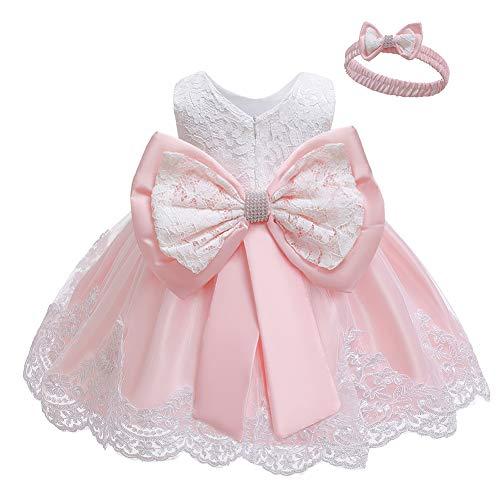 LZH Vestido de Encaje para Niñas Bebés Vestidos de Fores de Bowknot Concurso de Bodas Bautizo Bautizo Vestido de Tutú