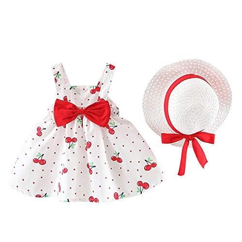 Fossen Vestido Bebé Niña Bautizo 3-24 Meses con Estampado de Cereza Cómodo + Sombrero de Paja - Vestido Bebés Recién Nacido - Falda Corta Kids Moda para Fiesta, Ceremonia, Bautismo
