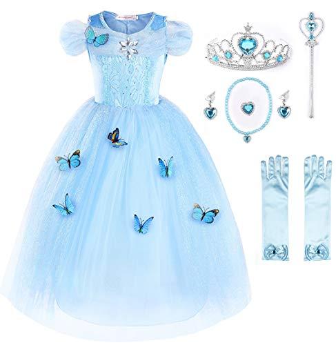JerrisApparel Nuevo Vestido de niña Ceremonia Princesa Disfraz con Mariposa (120cm, Cielo Azul con Accesorios)