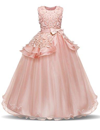 NNJXD Vestido de Princesa del Desfile con Encajes sin Mangas Falda de Fiesta para Niñas Talla (170) 14-15 años 354 Rosa-A