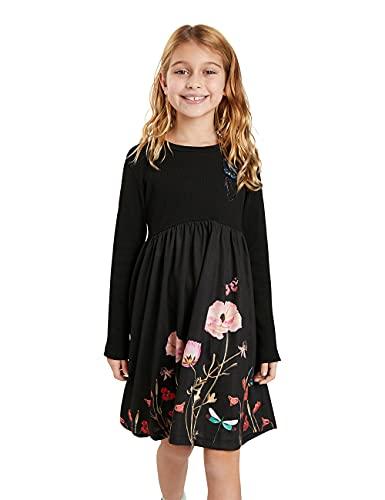 Desigual Vest_Ariadna Vestido Casual, Negro, 11-12 Años para Niñas