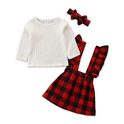 Conjunto de ropa de bebé de manga corta + falda de lazo o vestido de algodón corto para niños pequeños, 2 piezas, 3 meses a 4 años E-blanco 9-12 Meses