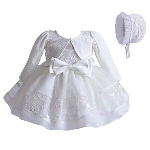 3 Piezas Vestidos de Bautizo Boda Fiesta de la Niña Vestido de la Flor del Encanje Falda de la Princesa del Cumpleaños para la Niña Falda + Chaqueta + Gorro Muchacha 0-18 Meses(Blanco 90(6-9 Meses))