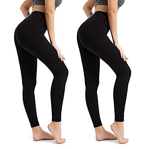 BESIDE STAR (2 Piezas Pantalón de Cintura Alta para Mujer Leggings Suaves y cómodos Negro M