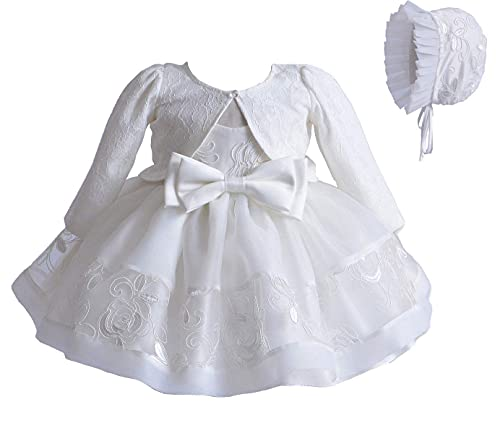 Vestido de Bautizo para Bebé Niña Vestido Formal de Novia de Boda de Encaje sin Manga 3 Piezas Conjunto de Chal Sombrero Skirt con Bowknot para Ceremonia