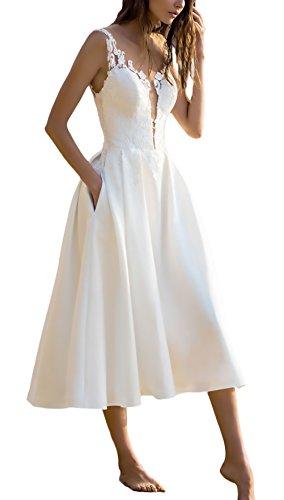Vestidos De Fiesta para Bodas Mujer Elegantes Sin Mangas Ropa Dama Moderno V Cuello Una Línea Fashion Bonita Vestido Fiesta Vestidos Coctel Blanco S-XL (Color : Blanco, Size : L)