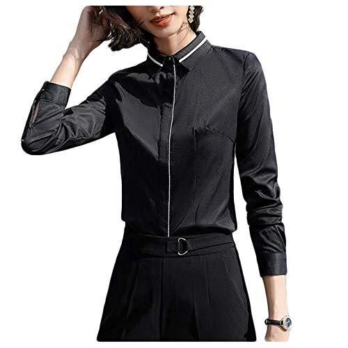 ZZQQ Vestido de suéter Señoras de la Camisa de Manga Larga Ropa de Trabajo de la Solapa de la Camisa (Color : White, Size : M)