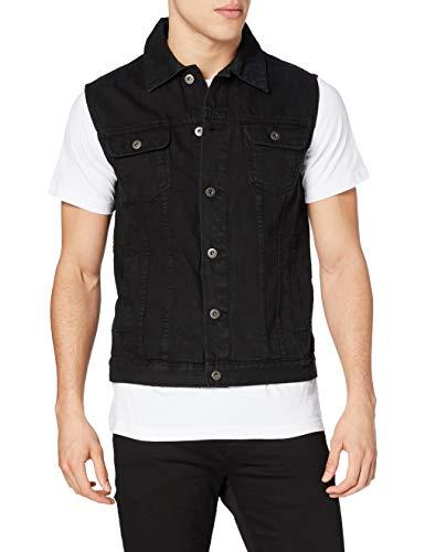 Urban Classics Denim Vest Chaleco, Negro (blackraw 12), Medium para Hombre
