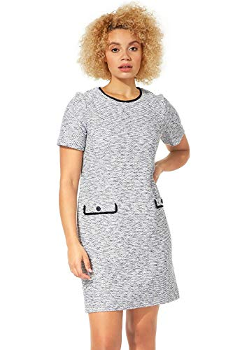 Roman Originals Vestido de tweed para mujer, informal, para el día a día, oficina, reunión, entrevista, largo hasta la rodilla, cuello redondo, bolsillos con cremallera azul 50