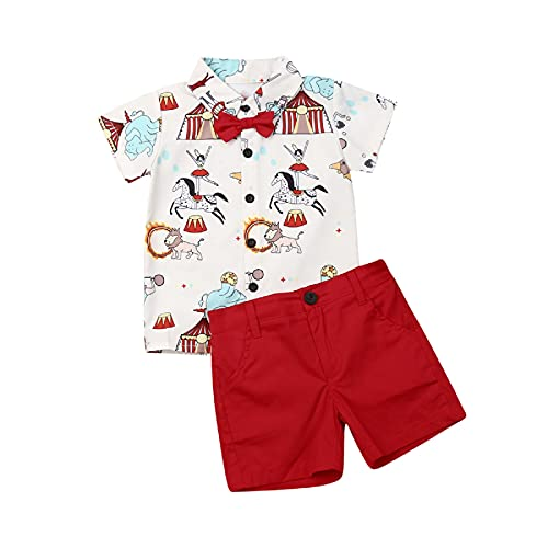 Conjunto informal impreso de 2 piezas para bebé niño de 1 a 5 años de verano fiesta con lazo, mariposa + pantalón corto corto con bolsillos rojo 4-5 años