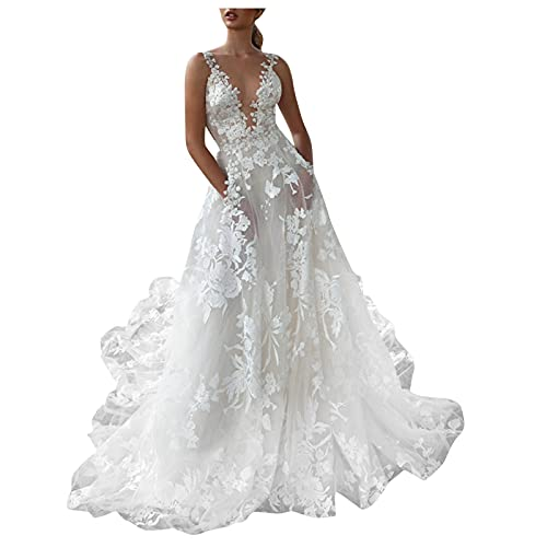 Vestidos de Novia Vestidos de Novia Baratos Vestidos de Fiesta Largos de Noche,Vestidos Largos para Boda de Noche (Blanco, S)