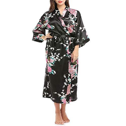 Pijama de verano de las señoras con el hogar Ropa, elegante y ligero, Agradable, suave Mujeres Vestir Gownwrap con el lazo Longitud de la correa del traje, collar kimono, Easy Wear and Cool, black-M