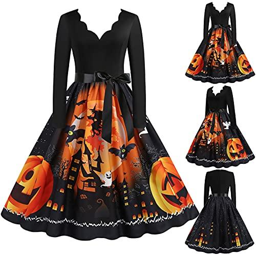 Vestidos de Halloween Manga Larga de Las Mujeres Años 50 Falda de Cuello Redondo Vintage Rockabilly Clásico de Impresión De La Vendimia Calabazas Cóctel Navidad Vestido Elegante de Fiesta(A05,S)