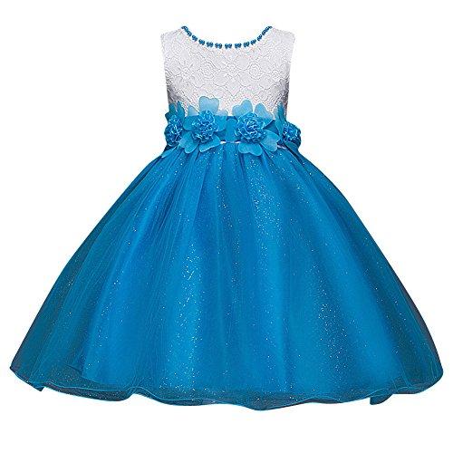 Qitun Bebés Niñas Vestido Floral De Tutú Princesa Traje De Fiesta Formal Elegante para Boda Cumpleaños Festividades Cielo Azul 150