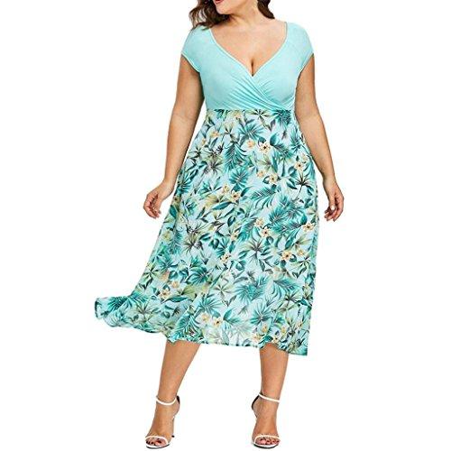 FAMILIZO -Vestidos De Fiesta Mujer Largos Elegantes Vestidos Largos De Fiesta Mujer Tallas Grandes Vestidos Manga Corta Mujer Sin Hombro Vestidos Mujer Vestidos Mujer Verano Flores (4XL, Verde)