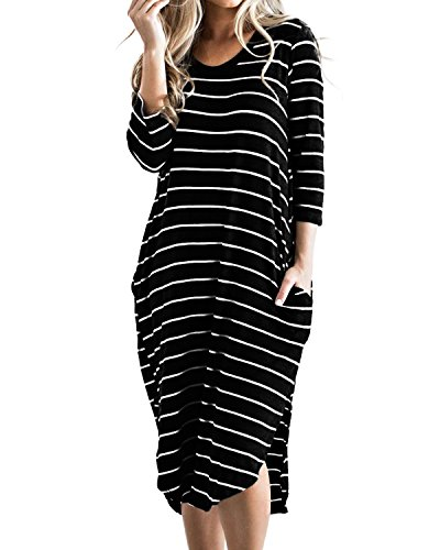CNFIO Vestidos de Fiesta Mujer Casual Largos Midi Manga Larga Algodón Vestido Playa Mujer Bolsillos Dress