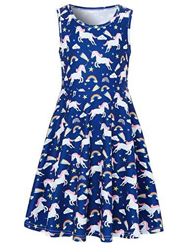 Funnycokid Grils Print Blue Dress Casual sin Mangas Vestido de Fiesta de Unicornio para niños, Unicornio 4,10-13 años (XL)