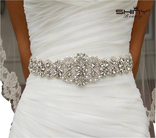 Cinturón con adorno de estrás de ShinyBeauty para el vestido de novia, diadema o decoración de almohada, acero inoxidable, Ivory RA 300, 45.00cm*4.50cm